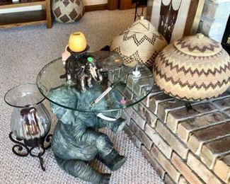 Elephant End Table, & More Baskets