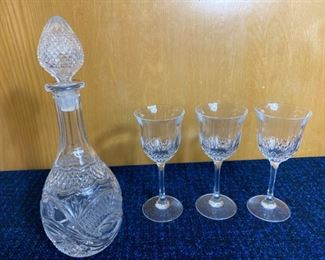 Crystal Wine Glasses and Decanter