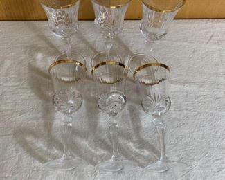 Longchamp Gold Rimmed Crystal Wine Glasses