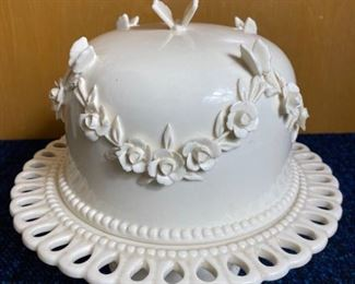 Vintage Porcelain Cake Stand with Flowers and Butterflies Dome