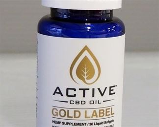 Active CBD Oil Gold Label Hemp Supplement, 30 Liquid Soft Gels, Qty 1