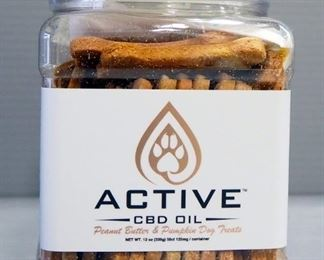 Active CBD Oil Dog Biscuits, Peanut Butter & Pumpkin Flavor, 1 Container Of 50