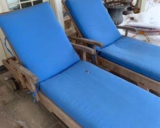 Teak Chaises and Wooden Planter Boxes