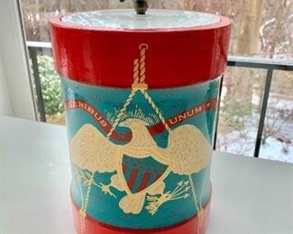 $150 - Vintage Cera Eagle Shield E Pluribus Unum set (ice bucket & 12  glasses) 13 1/2 in. (H) x 8 in. (diameter)
