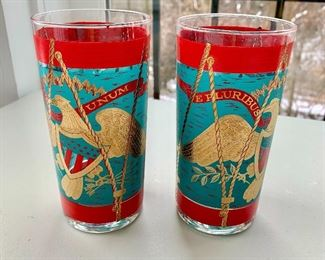 """SOLD WITH ICE BUCKET - """"E Pluribus Unum"""" decorated beverage glasses; 5 3/4 in. (H), 12 available"""
