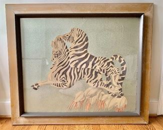 $250 - Signed, original art of two zebras in wooden frame; small surface crack top; 35 in. (H) x 41 in. (W)