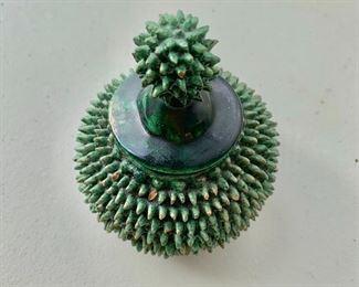 $30 - Green glazed ceramic bowl with cover - 4 1/2 in. (H) x 3 1/2 in. (diameter)
