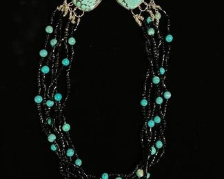 Turquoises and bead necklace - around 26 inches in length- natural turquoises - price 150 dollars