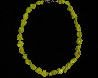 Lime green turquoises necklace - 17 1/2 inches long - price 75 dollars