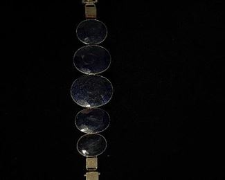 Sterling silver and blue stone bracelet - 8 1/2 inches in length - price 100 dollars