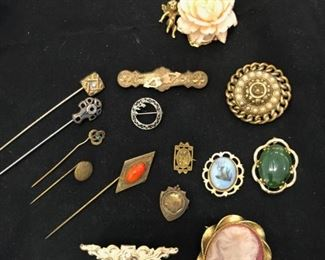 Stick pins, sterling brooches, enamel