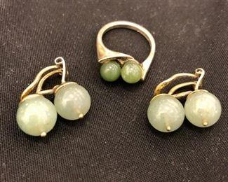 Jade, sterling silver ring