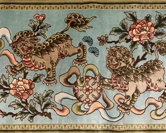 Vintage Handmade Foo Dog Chinese Silk Tapestry