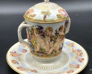 Set2 Antique CAPODIMONTE Porcelain Teacup & Saucer