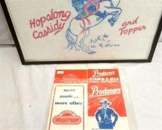 HOPALONG CASSIDY TOWEL,MILK CARTON