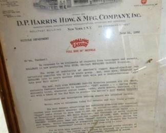 1950'S HOPALONG CASSIDY CERTIFICATE