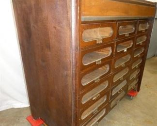 VIEW 3 SIDE EARLY TEXTILE CABINET