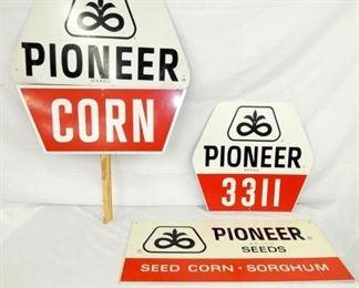 3 PIONEER CORN SEED SIGNS