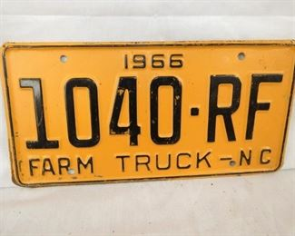1966 NC FARM TRUCK LIC. TAG