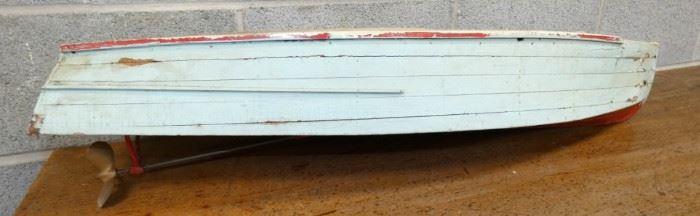EARLY 8X38 WOODEN BOAT MODEL