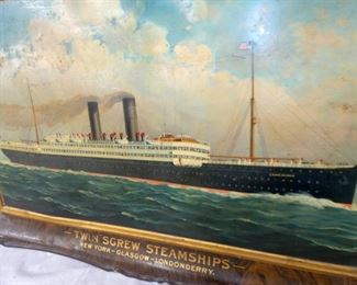 VIEW 3 CLOSE UP STEAMSHIPS METAL SIGN