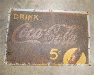 28X19 DRINK COCA COLA 5 CENT SIGN