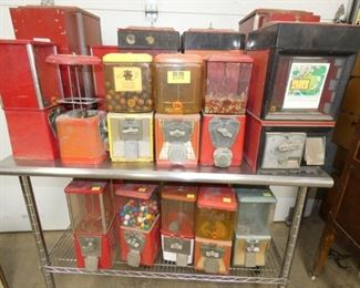 VARIOUS COIN OP GUM/TOY MACHINES