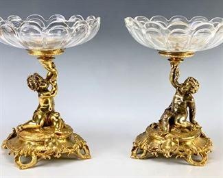 Pair Christofle Gilt Bronze Putti Crystal Compotes - Lot 118