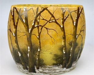 Large Daum Nancy Winter Scene Pillow Vase - Lot 112a