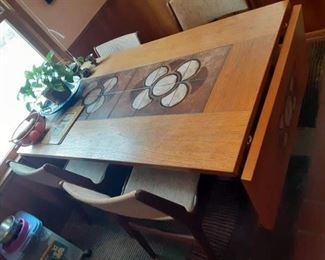 Mobler Teak Mid-century retro drop leaf tile dining room table and chairs