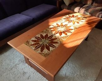 Mobler Teak Mid-century inlaid tile coffee table