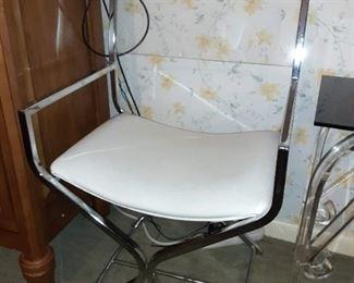 Cross leg Chrome lucite side chair