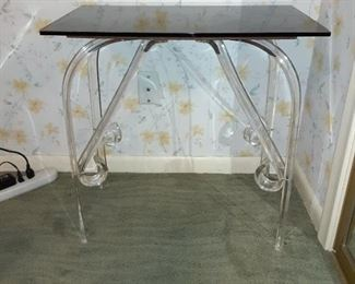 Unusual lucite side table curved legs