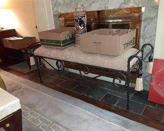 Large cast iron foyer bench