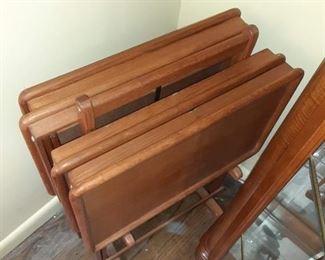 Set of wood TV trays