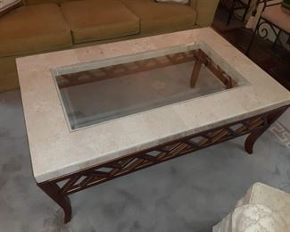 Huge Travertine inlaid glass coffee table mid-century $600