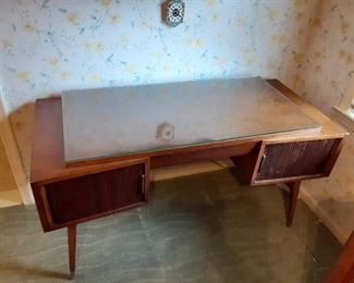 Sligh Mid Century Desk with Tambour Doors
