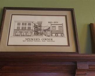 Spencer's Corner framed black and white