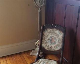 Petite rocking chair, floor lamp