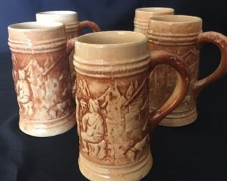 Hull pottery beer steins (5)