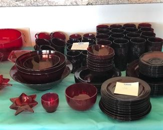 Beautiful red glass dish set with glasses