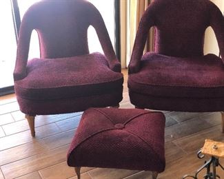 2 mid century chairs and 1 ottoman