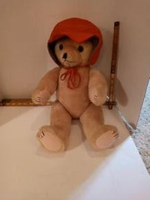 Jimel Productions Bear.  Large brown bear with red bonnet