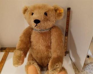 Steiff Bear with rhinestone choker.