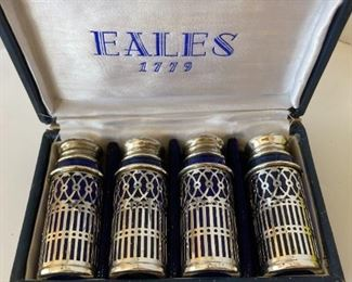 Eales Silver Art Co. Cobalt Blue Glass and Silver Plated S&P 2 SETS in original box