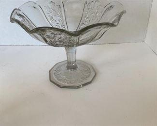 White glass pedestal bowl