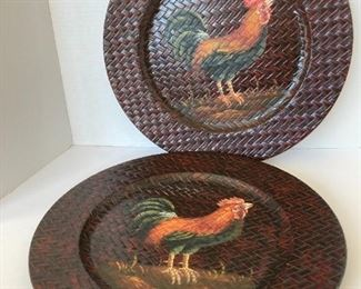 Wicker rooster plates