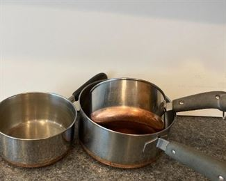 Copper bottom stainless steel pans and nice kitchenware