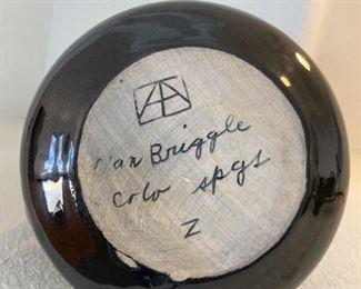 "Van Briggle vase.  Black, approx 12 "" tall."
