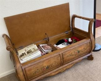 Beautiful chest/bench with painted scene